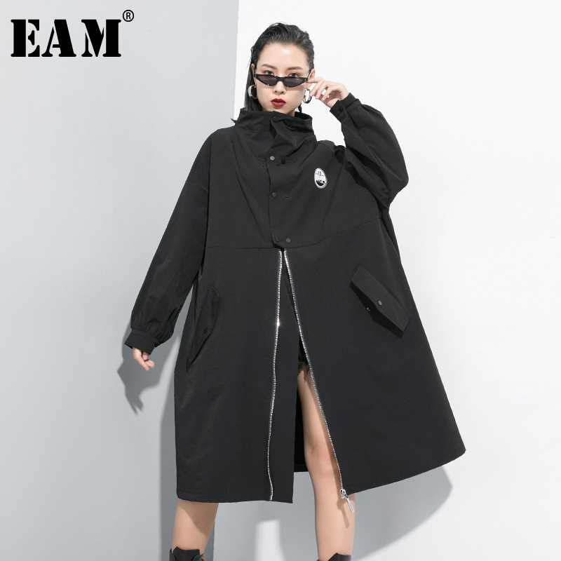 [EAM] Women Black Long Oversized Trench New Stand Collar Long Sleeve Loose Fit Windbreaker Fashion Tide Autumn Winter 2019