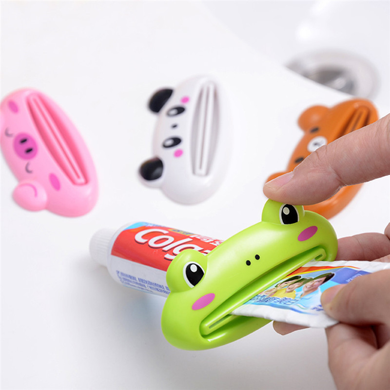 1pc Cartoon Animal Easy Toothpaste Dispenser Plastic Tooth Paste Tube Squeezer Useful Toothpaste Rolling Holder Bathroom