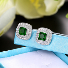 Classic AAA cubic zirconia red green blue white stud earrings round crystal girl ladies multicolor fashion jewelry gift