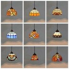 Lámpara colgante de cristal de colores Tiffany, lámpara colgante Vintage mediterránea, lámpara colgante para cocina, comedor, escalera, Bar, accesorios de iluminación para el hogar