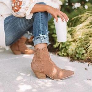 Image 3 - מגפי קרסול נשים סתיו זמש אישה רוכסן תפירת הבוהן מחודדת גבירותיי נשים עקבים שמנמנים מגפיים קצרים נעליים נקבה בתוספת גודל 2020
