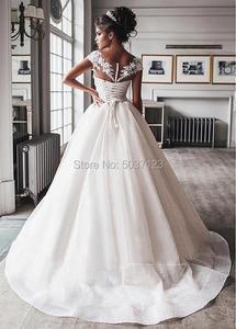 Image 2 - Bling Bling ชุดบอลชุดแต่งงานชุด 2020 Nude Tulle คอหมวก Lace Applique Corset ปุ่ม Sweep Train ชุดเจ้าสาว