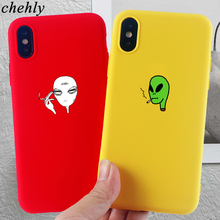 Funny Cool Alien Phone Case for iPhone X XR XS Max 8 7 6 S Plus Anime Cases Soft Silicone Fitted Mobile Accessories Covers