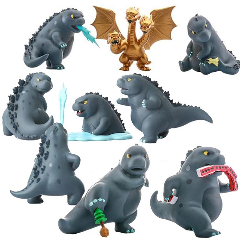 12Pcs/set Q Version Gojira Godzilla Cute PVC Action Figure Collectible Model Toy Gift for Chlidren Birthday Gifts