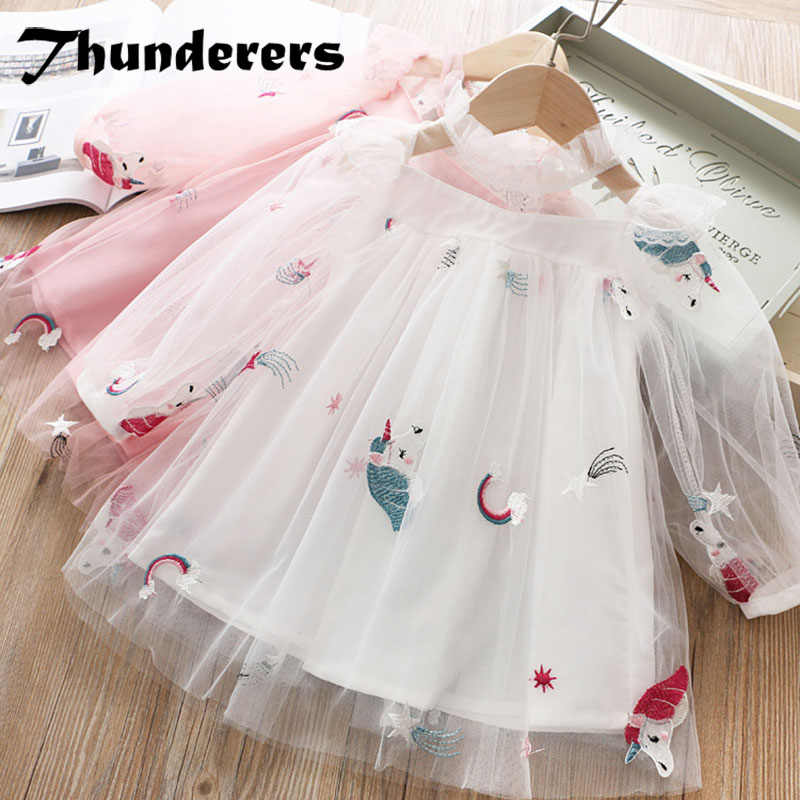 Thunderers Summer Fashion Cartoon Kids Princess Dress For Girl Long Sleeve Mesh Embroidery Girl Party Dress Casual Girl Clothes