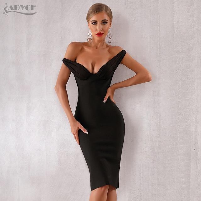 Adyce 2020 חדש קיץ נשים סלבריטאים ערב המפלגה שמלת Vestidos אלגנטי שחור תחרה סלאש צוואר כבוי כתף Bodycon מועדון שמלה