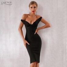 Adyce 2020 nowe letnie kobiety suknie wieczorowe w stylu gwiazd Vestidos eleganckie czarne koronkowe z szerokim dekoltem, bez ramienia Bodycon sukienka klubowa