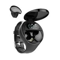 Reloj inteligente TWS 2 en 1 para hombre y mujer, pulsera resistente al agua con auriculares Bluetooth ajustables, 2021