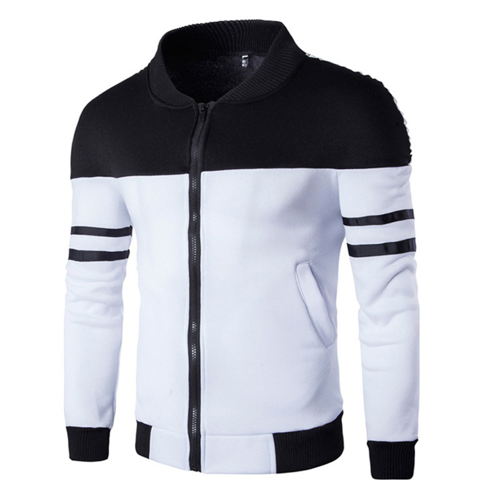 Men Autumn Winter Packwork Hoodie Zipper Jacket Long Sleeve Coat Mens Casual Stand Collar Cardigan Blouse Tops M-3XL