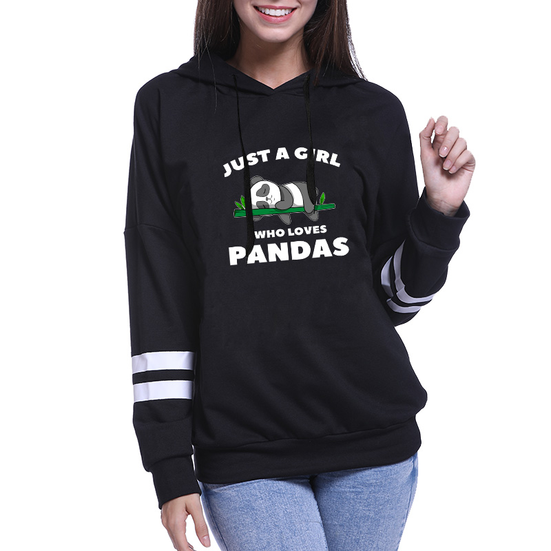Buy JUST A GIRL WHO LOVES PANDA Winter Sweatshirt Women's Hoody Long Sleeve Hoodies Hooded Pullover Tops Blouse for only 15.86 USD