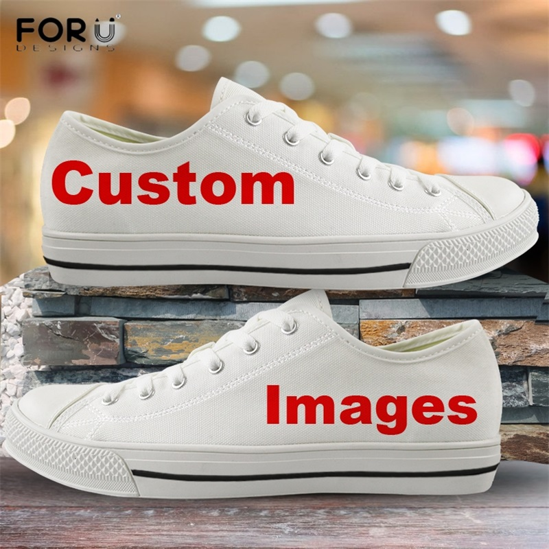 FORUDESIGNS Custom Your Logo/Image/Text/Name Print Woman Low Top Canvas Shoes Breath Light Lace Up Shoes Women Spring Footwear