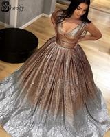 Elegant Puffy V neck Glitter Gold and Silver Long Evening Dress 2019 Luxury Dubai Women Formal Sequin Gown