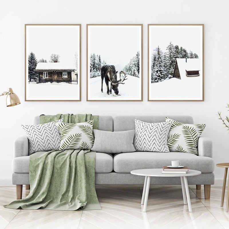 חורף נוף קיר תמונה סקנדינבי סגנון פוסטר נורדי יער נוף קיר אמנות בד ציור מודרני עיצוב הבית