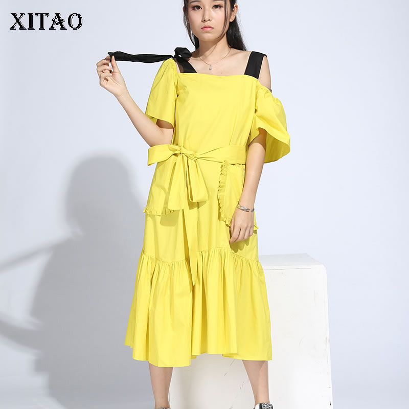 XITAO Off Shoulder Backless Midi Dress Korea Fashion New Women 2019 Pleated Bow Elegant Bandage Strapless Casual Dress HJH103