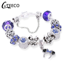 CUTEECO Mickey Minnie Bead Pendant Brand Bracelet Suitable For Women Jewelry Gifts Hot Fashion Blue Hat Charm
