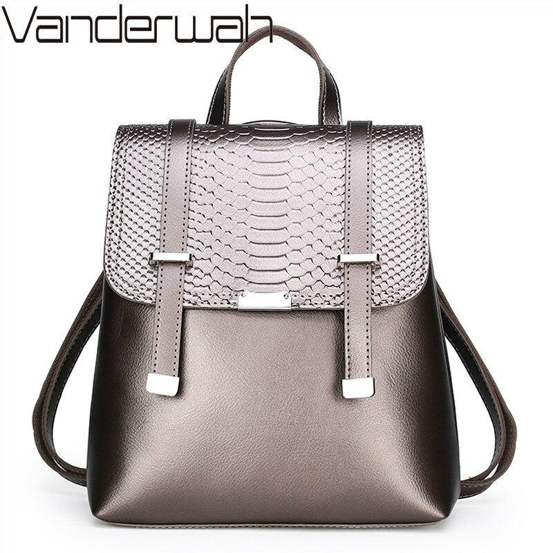 Vintage Women Backpack 2020 Soft Leather Female Backpacks Casual Solid Schoolbag For Teenage Girls Shoulder Bag Travel Back Pack