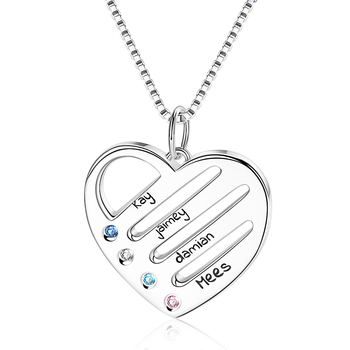 Strollgirl 925 personalized custom name and birthstone love heart chain pendant jewelry gift new ladies necklace Free shipping
