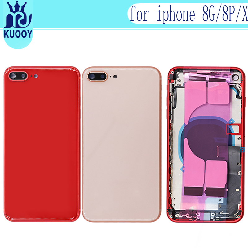 New Full Housing Case For iphone 8 8G 8P 8 Plus X Battery Back Cover Door Rear Cover Middle Frame Chassis With Flex Cable in Mobile Phone Housings Frames from Cellphones Telecommunications