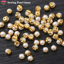 RESEN 100pcs 6mm Gold Sewing Pearl Beads Sew On Rhinestones Plastic Stone with Gold Claw Flatback Pearl for Garment Decoration resen 6mm mix fancy opal colors resin sew on rhinestones with gold claw pink blue green white opal sewing rhinestones diy dress