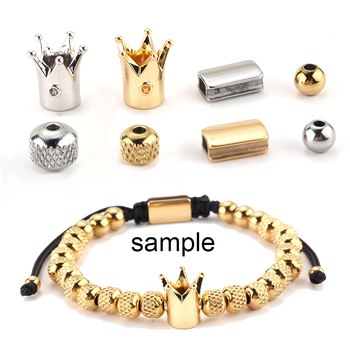Charm Spacer Beads for Jewelry Making Supplies Diy Bracelets Stainless Steel Gold Crown Accessories Wholesale Lots Bulk