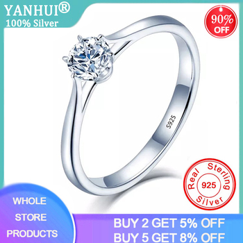YANHUI With Certificate Solitaire 1.0ct Lab Diamond Ring Silver 925 Jewelry Engagement Wedding Rings for Women