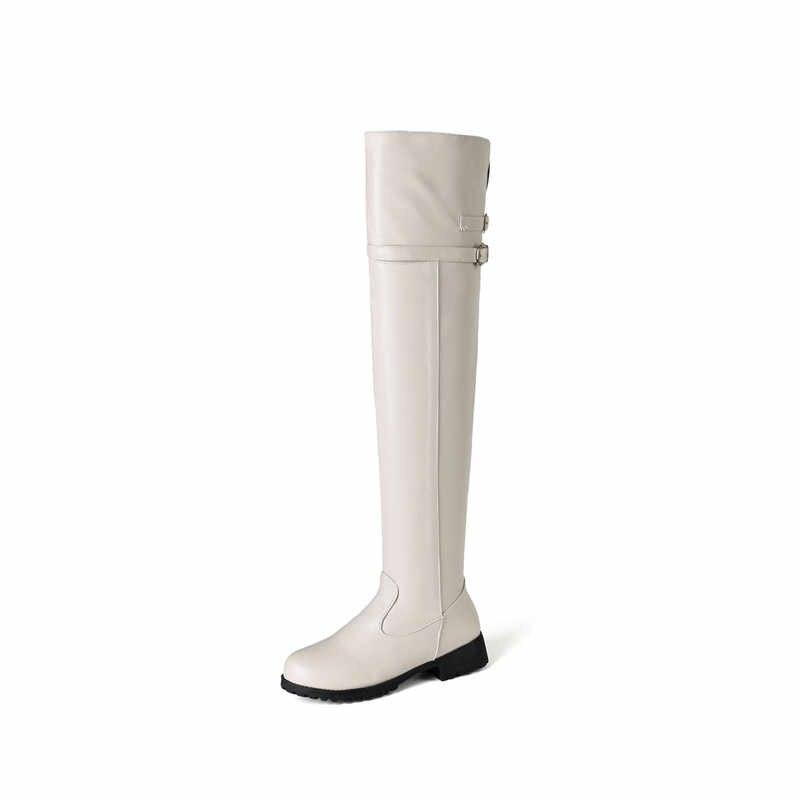 MEMUNIA 2020 toptan büyük boy 48 kadın uyluk yüksek çizmeler yuvarlak ayak zip toka sonbahar çizmeler kare topuklu platform ayakkabılar kadın