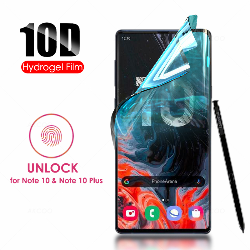 Akcoo Note 10 Screen Protector full glue unlock with fingerprint for Samsung Galaxy S7 8 9 Plus Pro Hydrogel film