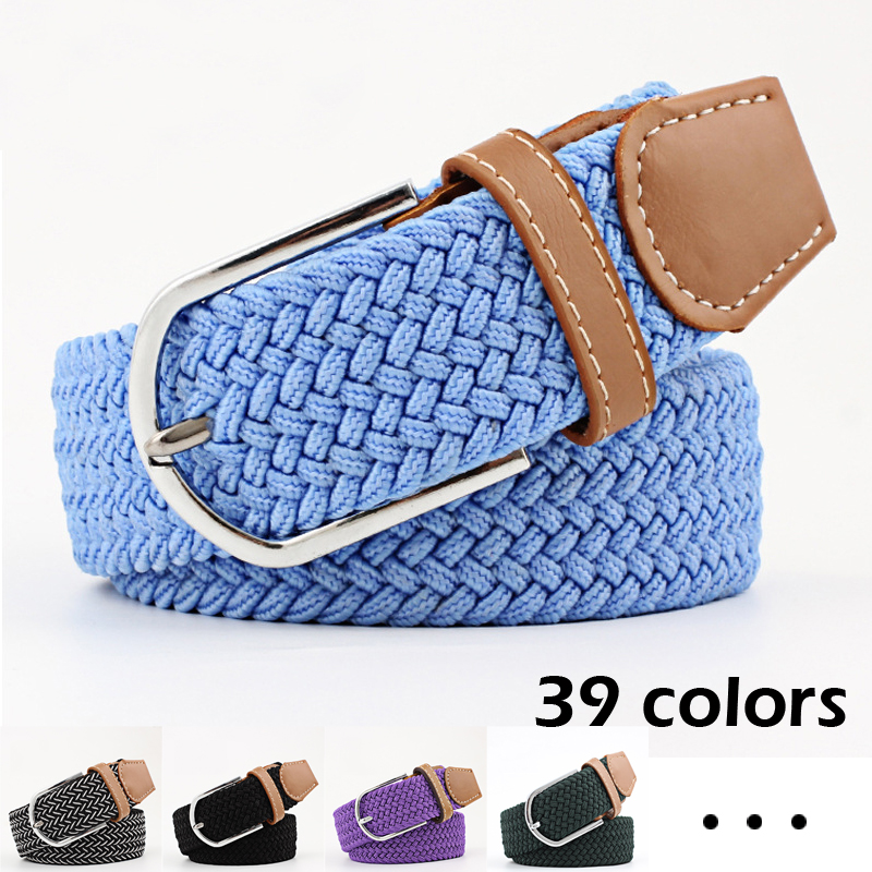 Men's Women's Elastic Waistband Casual Stretch Knitting Pin Buckle Belt 39 Colors