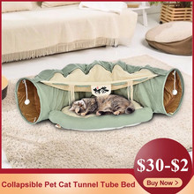 Collapsible Removeable Cat Tunnel Tube Pet Interactive Play Toys Warm Sleeping Bed Mat For Cat House Ferrets Puppy