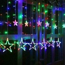 Романтический светодиодный Сказочный занавес пентаграмма звезда светящаяся садовая Гирлянда для дома, спальни, Рождества, праздника, украшения Luminaria 220 В, EU Plug
