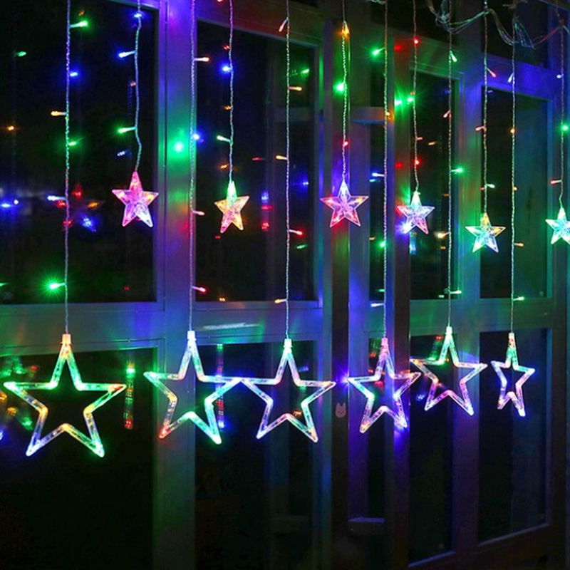Romantic LED Fairy Curtain Pentagram Star String Light Garden Home Bedroom Christmas Holiday Decoration Luminaria 220V EU Plug