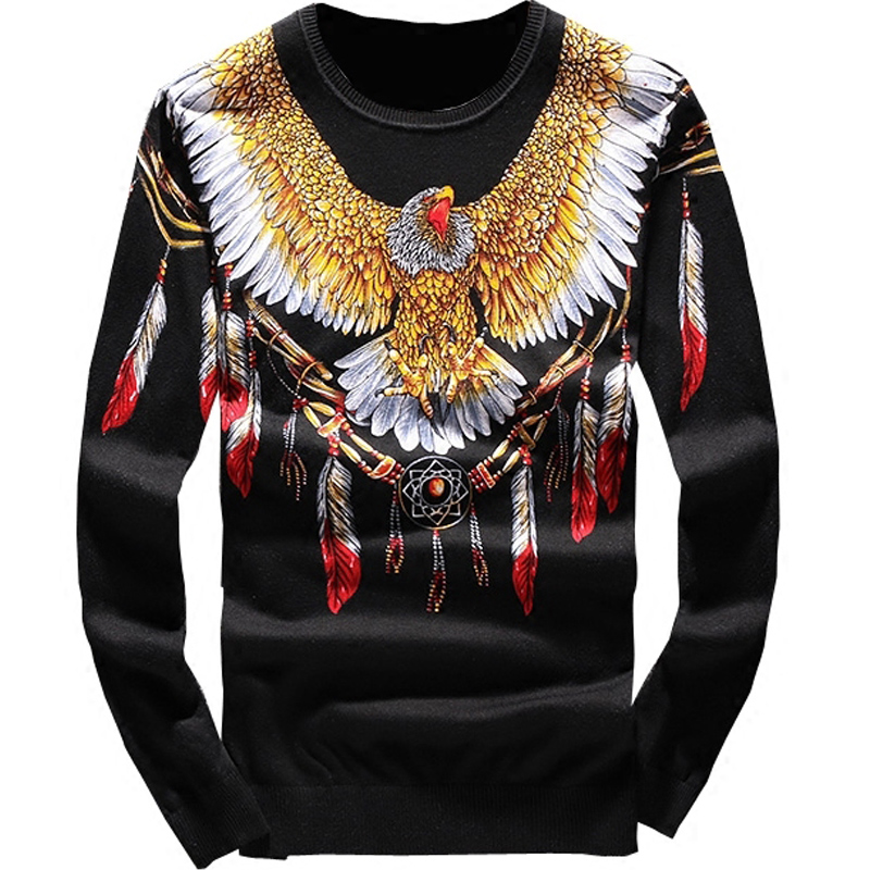 New 19 Men Luxury Winter Classic Eagle Wings Embroidered Casual Sweaters Pullover Asian Plug Size High Quality Drake #N114