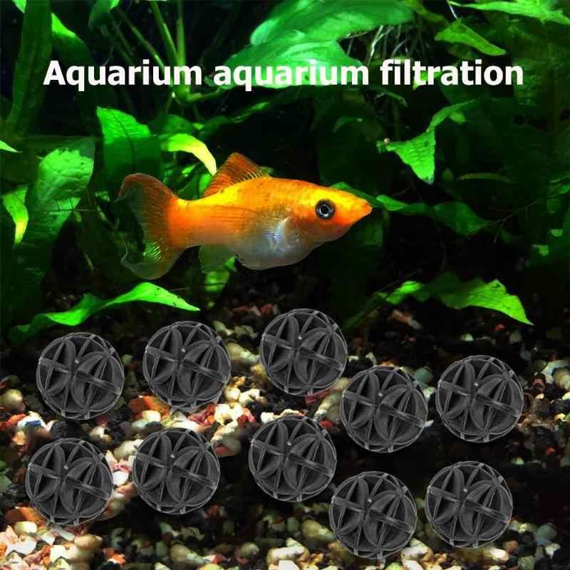 10 stks/partij Aquarium Filter Bio Ballen Portable Nat Droog Katoen Vijver Filter Bio-ballen Schoon Aquarium Aquarium Filtratie
