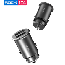 Rock 4.8A Dual Usb Metalen Mini Car Charger Hoge Kwaliteit Zinklegering Universele Autolader Compact Voor Mobiele Telefoons Зарядка