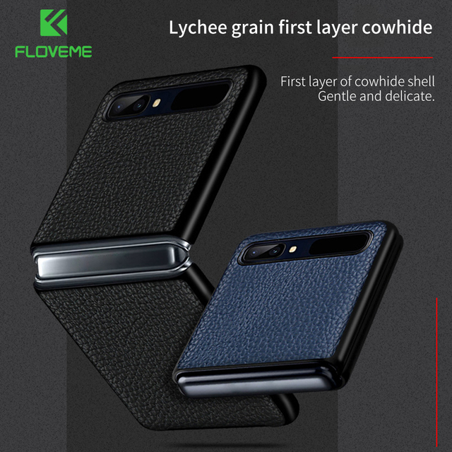 FLOVEME Genuine Real Leather Case For Samsung Galaxy Z Flip Case Foldable Litchi Protective Cover For Samsung Galaxy Z Flip Skin