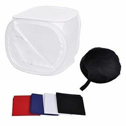 Photography 24 60×60cm Portable Collapsible Square Soft Box Cube Tent Box kit w/ Colored Backdrops