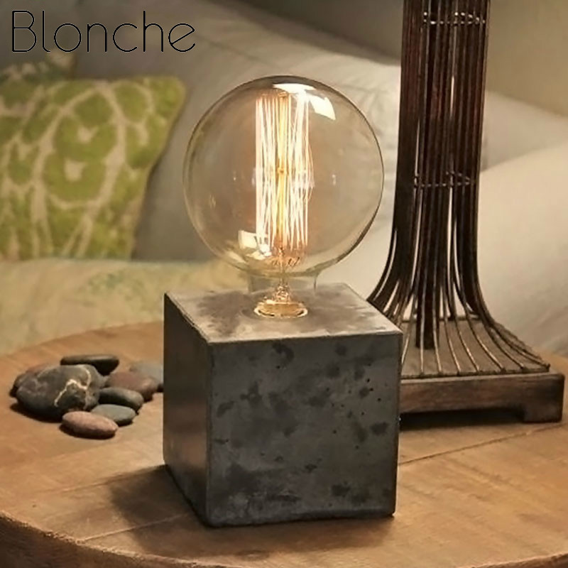 Blonche Modern Table Lamp Cement E27 Desk Lights Rubik's <font><b>Cube</b></font> Shape Lighting Bedroom Bedside Dining Room Fixtures <font><b>Led</b></font> Luminaire image