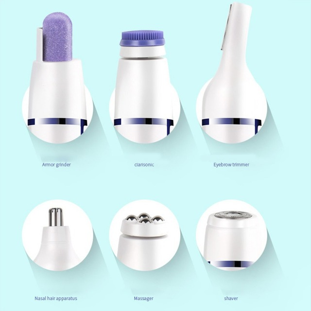 2019 7 In 1 Electric Epilator Shaver Eyebrow Nose Trimmer Electric Manicure Drills Facial Cleansing Brush Massager 2