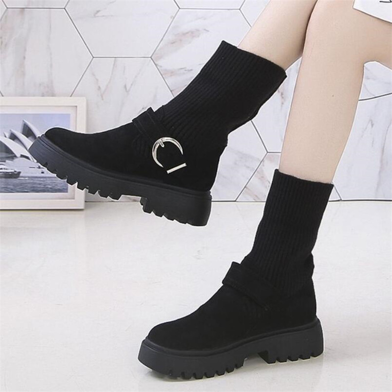 Mhysa 2019 New Fashion Platform Winter Boots Women Shoes Black Martin Boots suede Leather slip-on Ankle Boot Buckle Botas Mujer 65