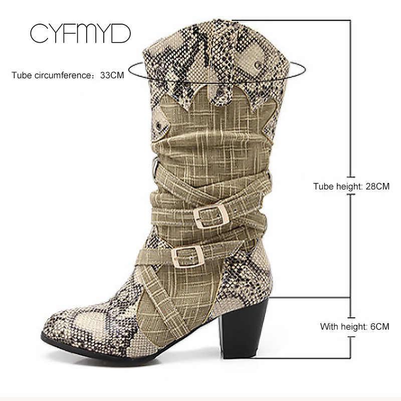 Женские ботинки зимние женские ботинки смешанных цветов с ремешком и пряжкой, большие размеры 43, женские ботинки до середины икры, увеличивающие рост, со змеиным принтом, суперзвезда