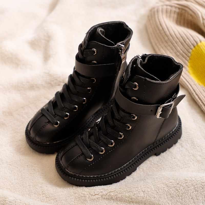 Kinderen Leren Schoenen Winter Meisjes Laarzen Mode Effen Kleur Jongens Martin Laarzen Pluche Warme Kinderen Meisjes Snowboots Zwart SC132