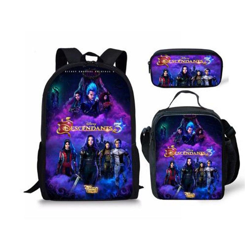 New Hot Descendants 3PCS School Bag Set School Backpack For Teenagers Boys Girls Student Travel Book Bag Schoolbags For Gifts