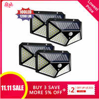 1/2/4Pcs High Efficient Solar Power Light PIR Motion Sensor 100 LED Solar Wall Lamp Outdoor Waterproof Yard Garden Lamps