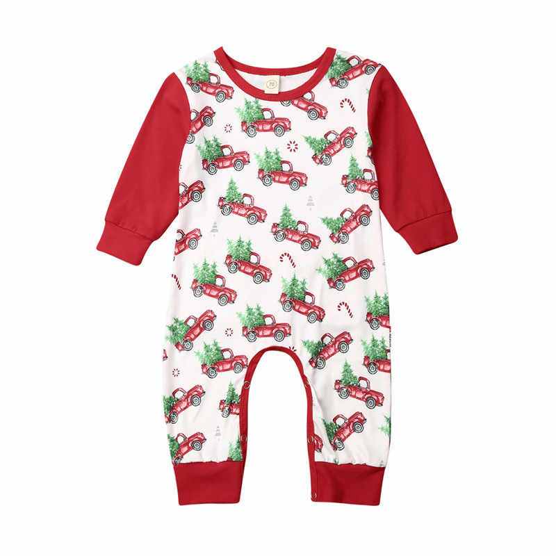 Christmas Newborn Baby Girl Boy Santa Romper Clothes Deer Print Long Sleeve Jumpsuit Outfit