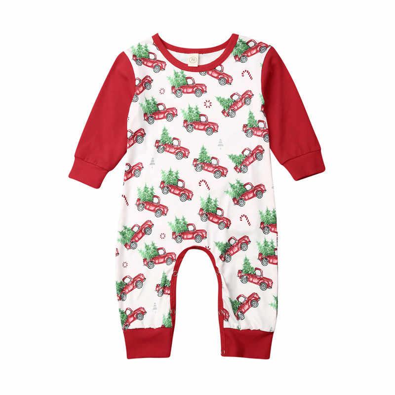 Christmas Newborn Baby Girl Boy Santa Romper Clothes Deer Print Long Sleeve Jumpsuit Outfit