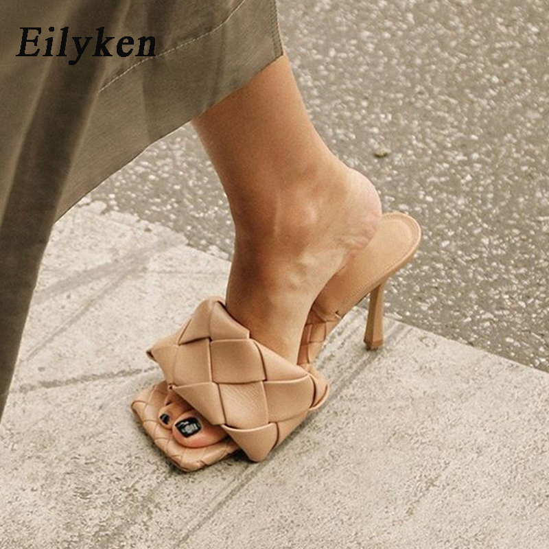 Eilyken 2020 Summer New Fashion High Quality Lattice PU Leather Peep Toe Shoe Womens Slippers Outdoor Rome Designer Sandals 41