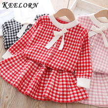 Keelorn Spring Brand Girls Dress 2020 New Arrival O Neck Bow Plaid Kids Clothing Sets Boutique Children Clothing Dress 3 8Year