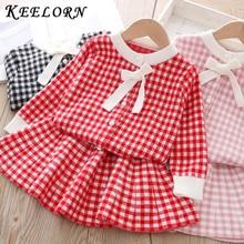 Keelorn, vestido de primavera para niñas, novedad de 2020, conjunto de ropa para niños con lazo a cuadros y cuello redondo, ropa infantil de Boutique, vestido de 3 a 8 años