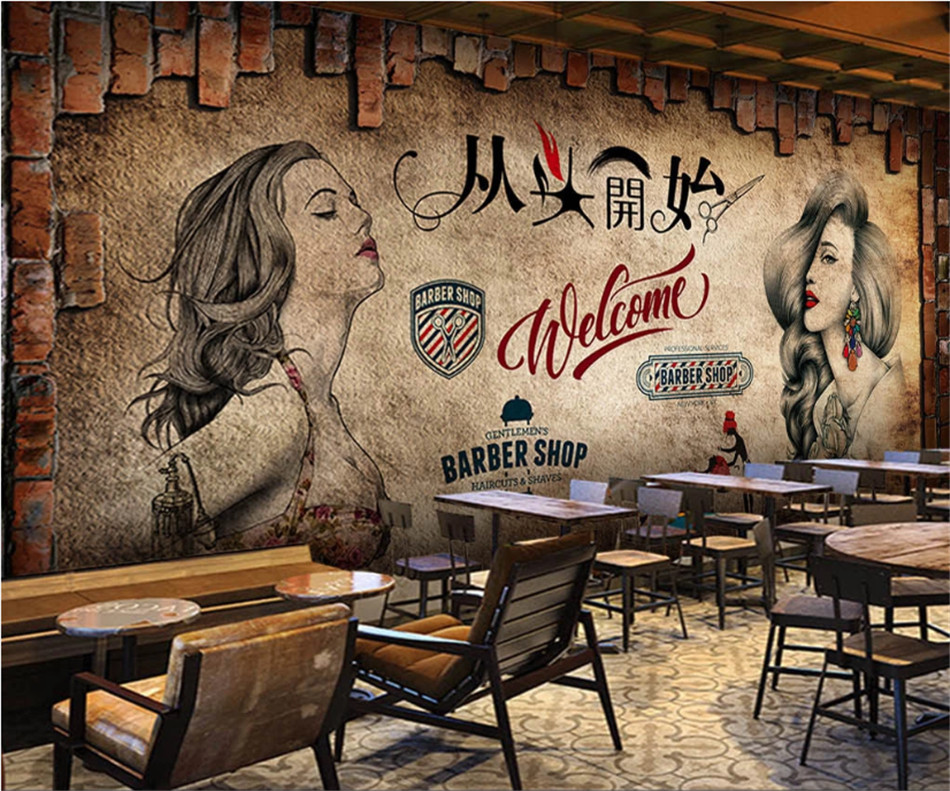 Retro Beauty Makeup Hair Salon Background Wall Paper 3d Barber Shop Trend Hairstyle Center Industrial Decor Mural Wallpaper 3d Wallpapers Aliexpress