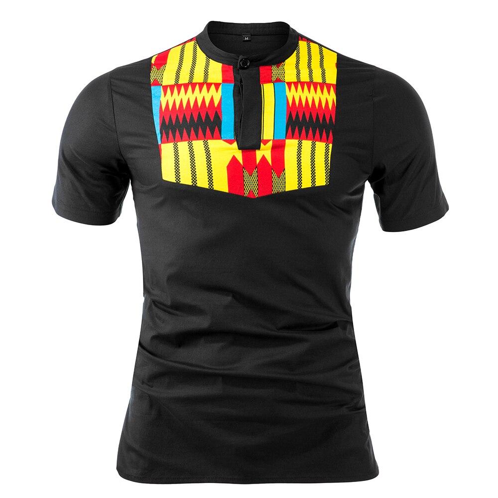 African Men Clothes Kente Print Top Traditional Clothing African Clothes For Men Print Shirt Top Cotton Material Dashiki Clothes
